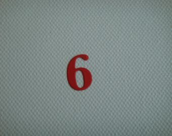 "Set of 10 numbers ""6"" to create red drawing paper"