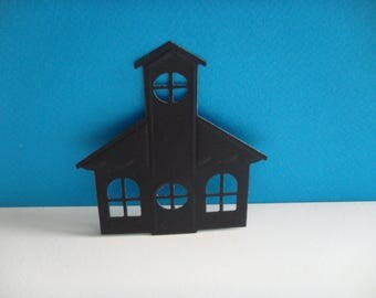 Cut black church for scrapbooking and card