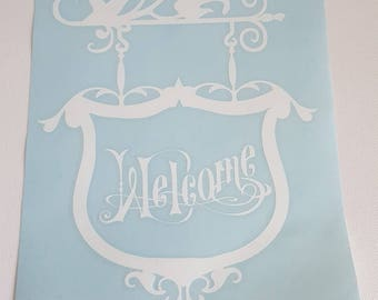 """Sticker for front door """"Welcome"""" glossy white vinyl"""
