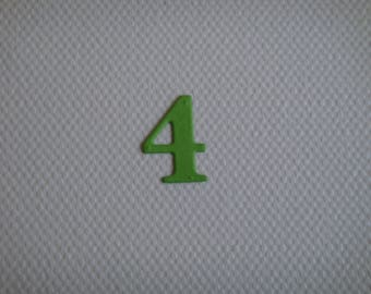 "Set of 10 numbers ""4"" in pale green drawing to create paper"