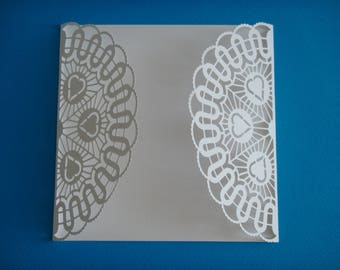 Lace window card with white hearts for creation