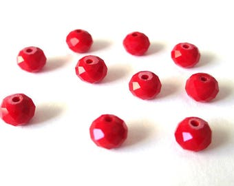 set of 30 beads glass faceted imitation jade 4 x 3 mm