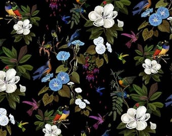 "Fabric, velvet, birds, foliage, tropical, ""once upon a time"", Thévenon"