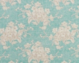 Fabric coupon 50/35 cm, TILDA, patchwork, 480009C TEAL, green, FLOWER WHITE