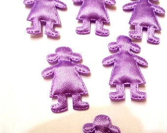BATCH 6 fabric APPLIQUES: 30mm purple girl
