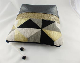 Faux leather, linen with gold gilding and sequins band make-up pouch