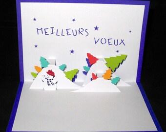 Snow 3D greetings card