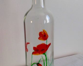 Recycled glass bottle hand painted poppies