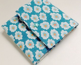 "Floral barrettes Pocket / pouch origami fabric small pan turquoise, Interior matching. ""Fanny"""