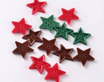 set of 20 buttons star 24 mm new