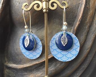 Silver Blue origami leaf earrings