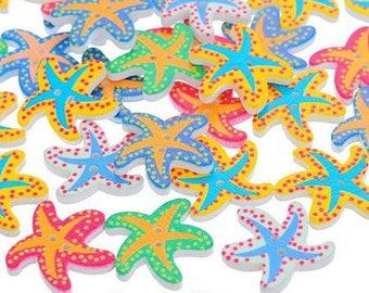 Button star fish wooden 21 x 19 mm