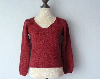 Long sleeves, V neck sweater big mesh Chinee red wool