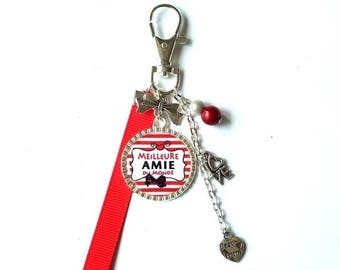 "Key ring - red bag friend/girlfriend jewelry - ""Best friend ever"" / personalized/gift/friendship"