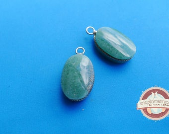 2 Silver Oval charms pendants and stony 13x22mm