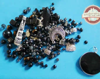 221 beads and charms ethnic silver black stone ceramic glass wood metal