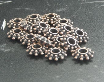 Spacer beads 10 copper flowers