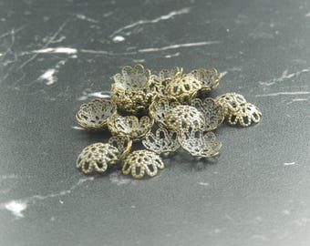 10 bronze flower bead caps