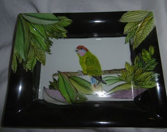 Hand painted porcelain tray: Parrot and pattern of large leaves on dark green background