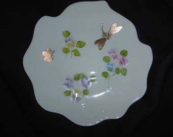 Ivy hand painted porcelain plate. Decorated with pansies and Golden insects