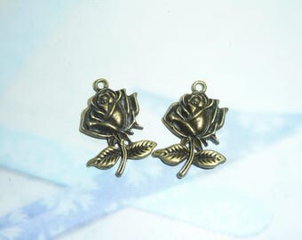 2 x charms 25x15mm bronze rose flower pendant