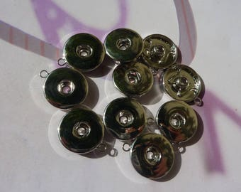 10 pendants silver metal for 19mm snap