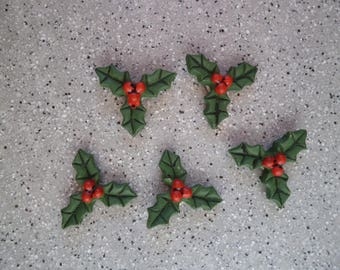 5 embellishments leaf Holly red green resin paste and color