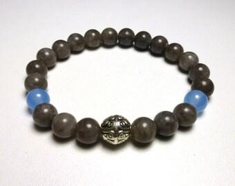Jade and aquamarine, semi precious stone bracelet