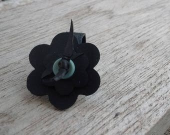 Flower ring in inner tube recycled and grey blue button