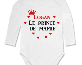 The prince of Grandma personalized with name Bodysuit