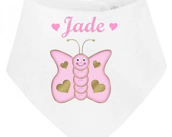 Butterfly personalized with name baby bandana bib