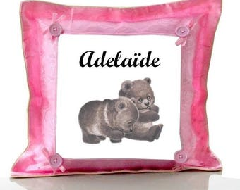 Cushion Pink bears personalized with name