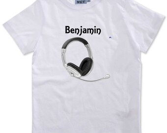 T-shirt boy headphones personalized with name