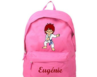 Backpack pink Judoka personalized with name