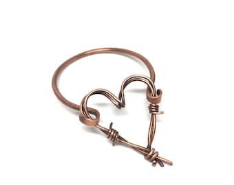 Copper bracelet with barbed mobile heart, heart spinner bracelet, copper potty