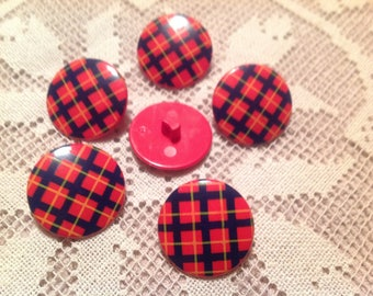 Set of six buttons vintage 70s, plaid on red background