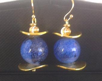 Glass pearls spun blue - night Golden headpieces
