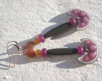Earrings - half moon: the ethnic copper
