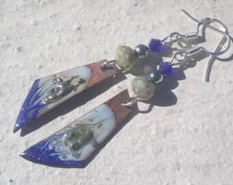 Small Silver Earrings: copper wings