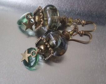 Green and bronze: Lampwork Glass earrings