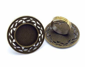 20mm: 1 ring adjustable stand bronze round 20mm cabochon