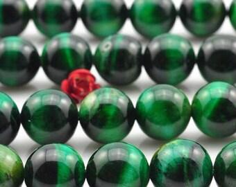 Green Tiger eye: 20 natural semi precious 6mm beads