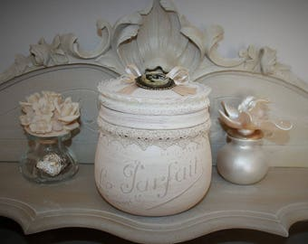 "Jar ""Perfect"" shabby chic object revisited"