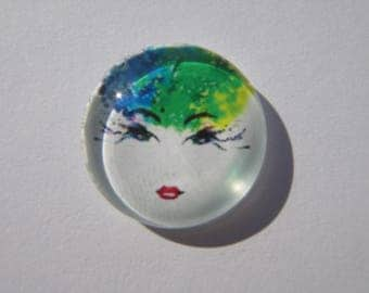 Glass cabochon round 20 mm with a colorful woman face image