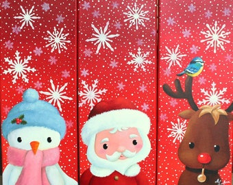 Acrylic painting on canvas (Triptych): Merry Christmas (snowman, Santa Claus and reindeer)