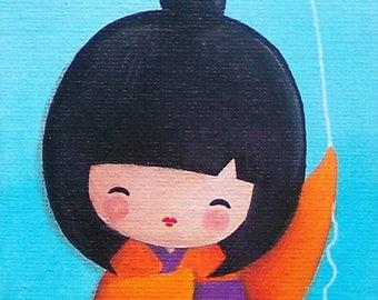 "KOKESHI - Acrylic painting on canvas: ""Miyuki loves to fly"""