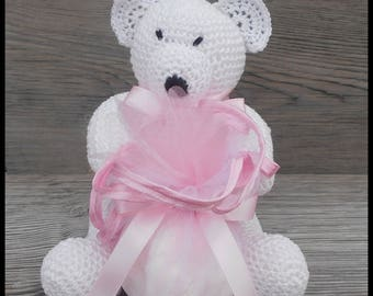 10 door sweets, white and pink Teddy bear crochet for baptism