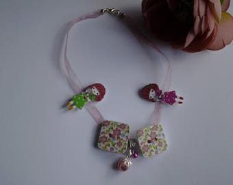 girl on Ribbon necklace