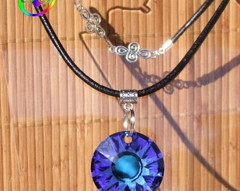 "Leather necklace large Pearl Pendant ""SUN"" faceted Crystal Swarovski 3.3 novelty cm ∅ Bermuda Blue"