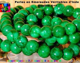 12 pearls round genuine Emerald India 7.5 mm to 8 mm - quality SI 1